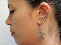 Gift Chirstmas Ear Cuff Hot Sale Punk Ear Cuff Earrings Retro Gold Silver Swallow Pendant Earring For Women Men Colors Mix