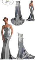 Wholesale 2012 Hot Sexy Silver Mermaid Strapless Crystals Beadings Beach Wedding Dress Evening Dresses LFC035