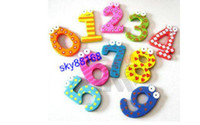 Wholesale 200pcs Wooden Lovely large wood Refrigerator Magnetic early education number for babies