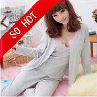 Wholesale Hot Women s Pajamas Lace Pyjamas Cotton NightGown three piece suite home service