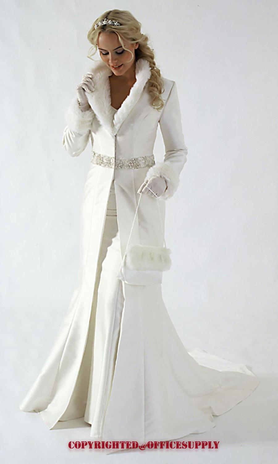 ivory a line coat strapless satin winter wedding dresses