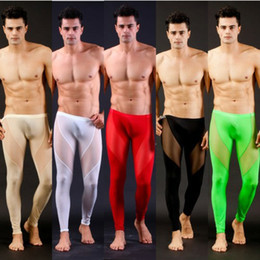 Wholesale New Fashion Colors Sexy Mesh Men s Long Johns Thermal Underwear Pants WJ7030 Size M L
