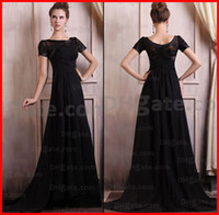 Wholesale Black A line Bateau Chiffon Embroidery Beaded Short Sleeves Mother Of The Bridal Dresses With Train