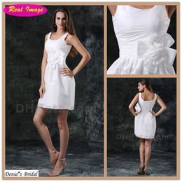 Sexy Little White Dress Sheath Wedding Dress Beach Bridal Gowns Scoop Neckline Handmade Flowers 100 dhyz 01