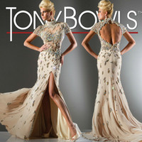 Wholesale Sexy Champagne Luxury Lace Beading Tony Bowls Backless Short Sleeve Prom Party Dress TB166