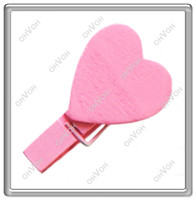 Women's wood clamp - S5Q x12 Mini Wood Heart Paper Photo Note Money Gift Clip Clamp Girl Toys AAAABY