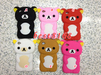 Wholesale 3D rilakkuma Silicone gel Case rubber cartoon teddy bear cases For Ipod touch th G
