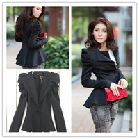 Women Polyester Middle_Length OL Women Jacket Coat Padded Puff shoulder Short Dress Suit Blazer M L XL JE52