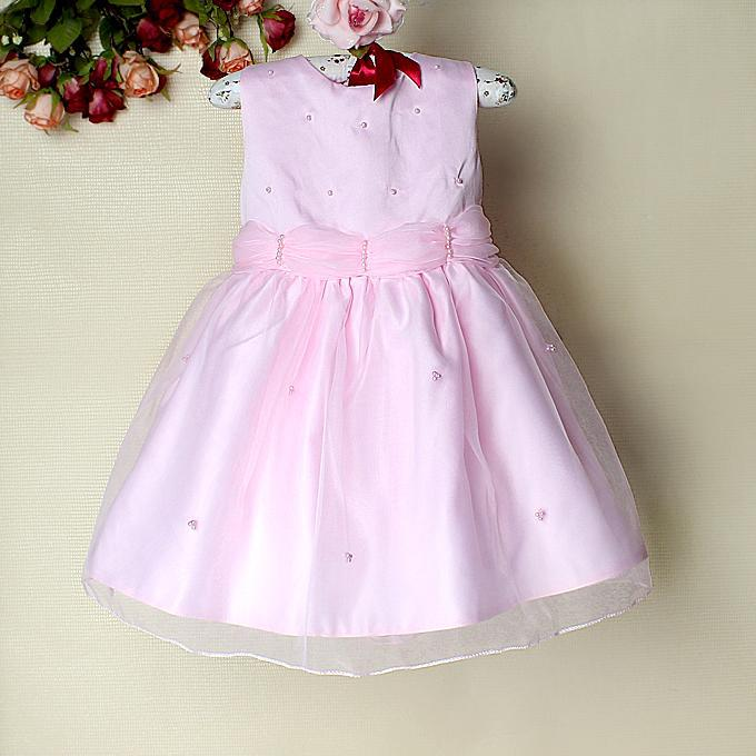 Babies Pink Dress Baby Girl Solid Pink Dress