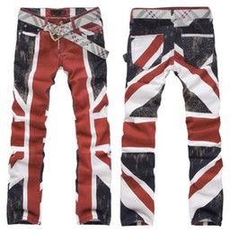 Wholesale 2013 men s slim fashion men s flag jeans slim straight jeans