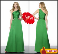Reference Images Satin Ruffle New Arrival! CUSTOM One-Shoulder A-line Ruche Lime Green Bridesmaid Dresses Evening Prom Gowns