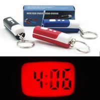 LCD es150 Guangdong China (Mainland) Free Shipping 100PCS A LOT Brand new digital Mini Projection LCD Clock Key Ring Chain gift projectio