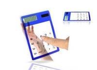 Wholesale FreeShipping ultrathin solar transparent calculator new exotic products ultra easy to sell C