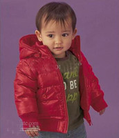 Christmas Boy 2-7 year old  Baby Coats Infants Boy & girl thick cotton-padded clothes winter overcoat Red & Black color cvbn