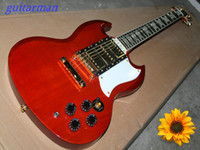Solid Body 6 Strings Mahogany Wholesale - Musical instruments Newest Custom SG Electric Guitar Orange High Brand Cheap