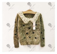 Wholesale Girls new love Sequin Lapel mink cashmere sweater