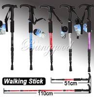 Rubber 110 Aluminum Durable Adjustable AntiShock Hiking Cane Walking Pole Trekking Stick Crutches