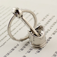 Wholesale 10pcs New HOT Engine Silvery Piston Keyring Key Ring Chain Keychain Key Fob