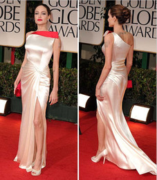 Wholesale 2012 Angelina Jolie Golden Globes Sheath Asymmetrical Two Toned Elastic Satin Slit Celebrity Dress