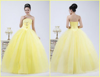 Reference Images Portrait Satin Custom made Strapless Bow Ball Gown Beaded Sweep Train Yellow Color Satin Tulle Wedding Dresses