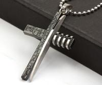 Wholesale Black Jesus Cross Pendant Necklace Titanium Stainless Steel Necklaces Religion Jewelry