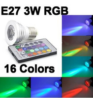 Wholesale IR Remote Control E27 Color RGB LED Bulb Light W V color change led Spotlight RGB BULB