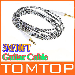 Wholesale 3M FT Black amp White Cloth Braided Tweed Guitar Cable Cord I109