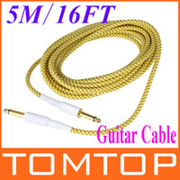 Wholesale 5M FT Yellow amp Brown Cloth Braided Tweed Guitar Cable Cord I110