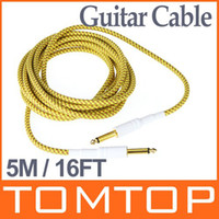 Wholesale 5M FT Cloth Braided Tweed Guitar Cable Cord for electric guitar electric box piano bass etc I110