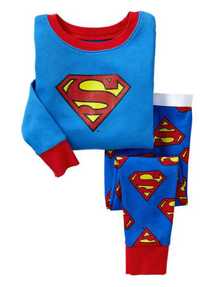 2017 Cartoon Baby Superman Kids Pajamas Jumpsuits Children Pajamas ...