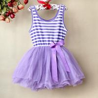al por mayor vestir para niña de color púrpura-5 colores La falda infantil rayada púrpura del patrón del tutú del vestido caliente del cordón del bebé de la venta embroma el vestido GD21113-11 de Tulle