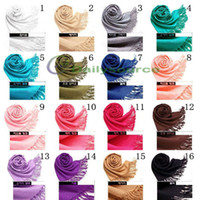 Wholesale 16 Colors Pashmina Cashmere Silk Solid Shawl Wrap Women s Girls Ladies Scarf