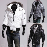 Wholesale 2013 HOt new fashion men s winter Jacket Cotton down Parka Fur Hoodie coat jacket coat