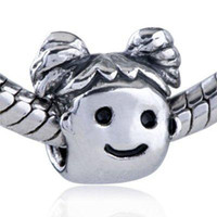 Round Silver Flowers The baby wish you good luck ,925 Silver beads charm for pandora,50pcs lot,