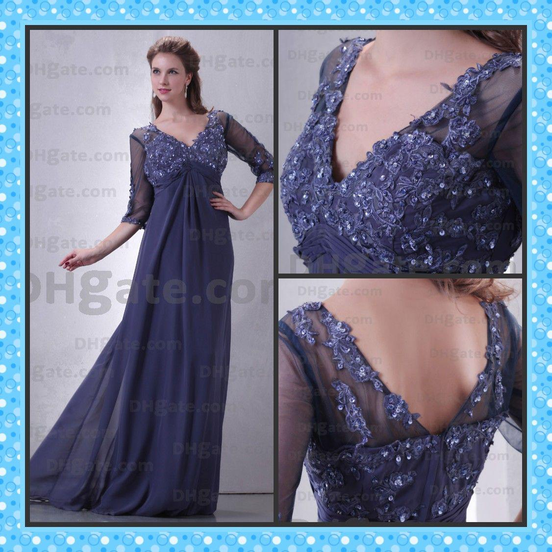 Actual Images Modest Mother Of The Bride Dress A Line V Neck ...