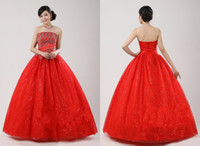 Reference Images Portrait Other Custom made Exquisite Ball Gown Strapless Floor-length Red Color Quinceanera Wedding Dresses
