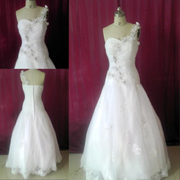 Wholesale 2012 New One shoulder A line Full length Applique beads Crystal Ruffles Zip White wedding dresses