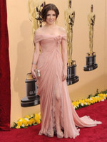 Wholesale 2012 Sexy Golden Globe Awards Off Shoulder Ruffle Sleeveless Floor Length Chiffon Celebrity Dresses