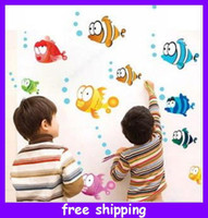 Wholesale Kids Wall Stickers Nursery Wall Art Decal Sticker Colorful Fish Removable PVC Art Wall Sticker