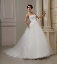 Wholesale 2013 New Actual Image A Line White Sweet heart Tulle Lace Court Ruffled Wedding Dress Bridal Gowns