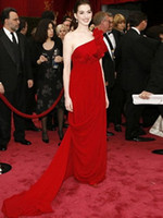 Wholesale 2012 Golden Globe Awards Anne Hathaway One Shoulder Hand Made Flowers Chiffon Red Celebrity Dresses
