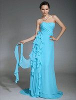 Reference Images Strapless Chiffon A-line Strapless Ruched Bodice with Draping Sweep Train Chiffon Evening Dresses Bridesmaid Dresses