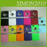 Wholesale Metal Chrome Ring Stand Holder Case For iPhone G Hard Plastic Back Cover Skin white red blue