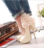Wholesale Lace Flower Super High Heels cm Platform Lady s Elegant Shoes For Party Black Beige Shoes On Sale