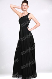 Wholesale 50 Discount Off One shoulder Formal Bridesmaid Dresses Beaded Full Length Sexy party Prom Gown For Women