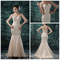 Wholesale Real Image v neck half sleeve sheer staps evening dresses mermaid beaded tulle prom dresses n361