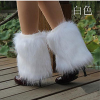 Wholesale Lady Elegant Fluffy Faux Fur Leg Warmer Boot Sleeve Cover Sock White PFk