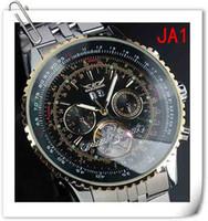 Men's antique watch face - jaragar classic gold bezel black face watch Luxury Swiss Men Automatic Mechanical Tourbillon Dive big stainless steel Mens Wristwatches mm