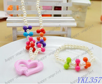 Wholesale Children s jewelry Sets handmade Acrylic Bead Bauble charms stretch baby necklace bracelet
