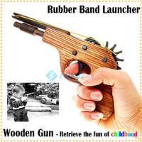 Wholesale Classical Rubber Band Launcher Wooden Pistol Gun Good Christmas Toy